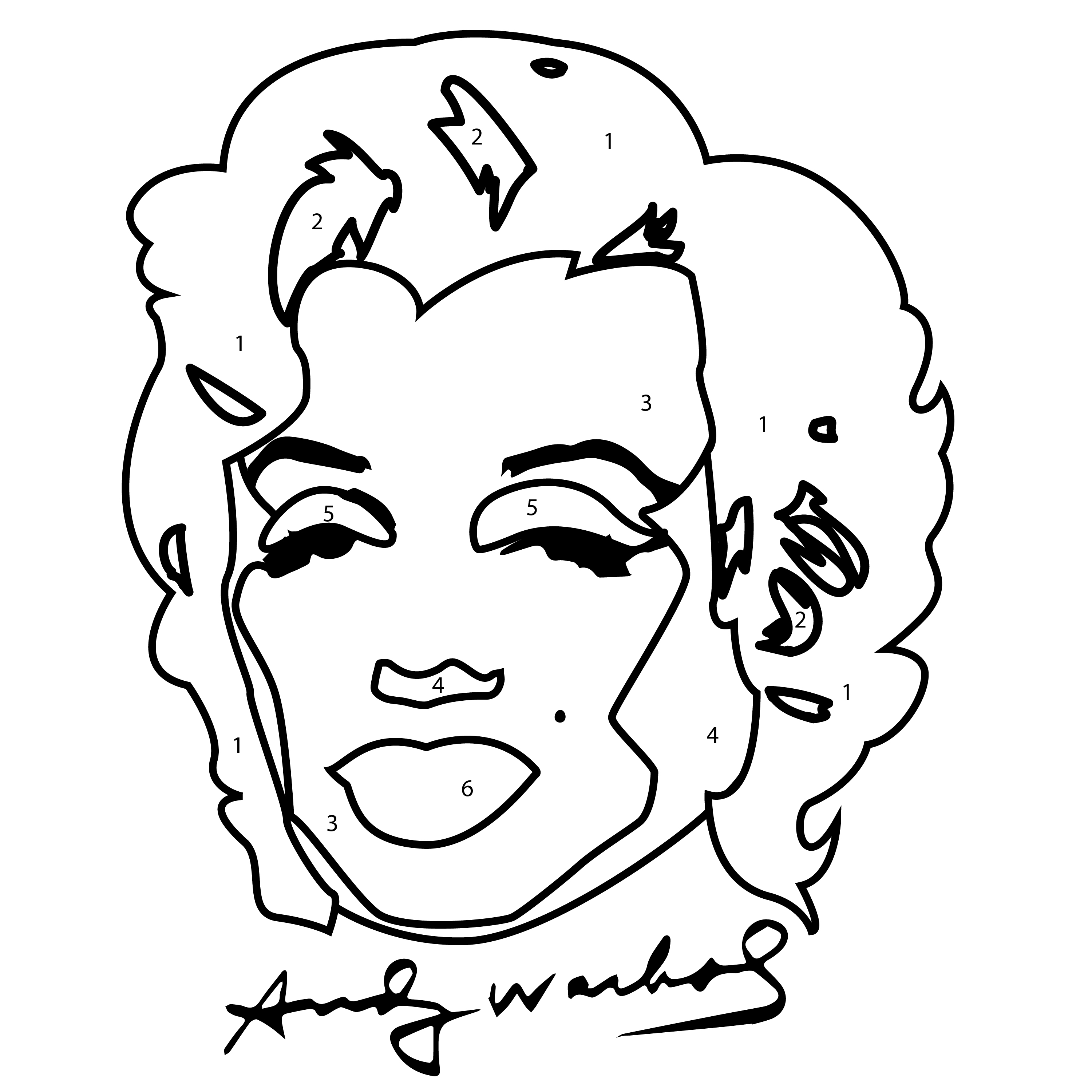 Marilyn Monroe Andy Warhol Coloring Page Sketch Coloring Page